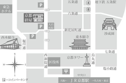 京都絆屋のアクセスマップ